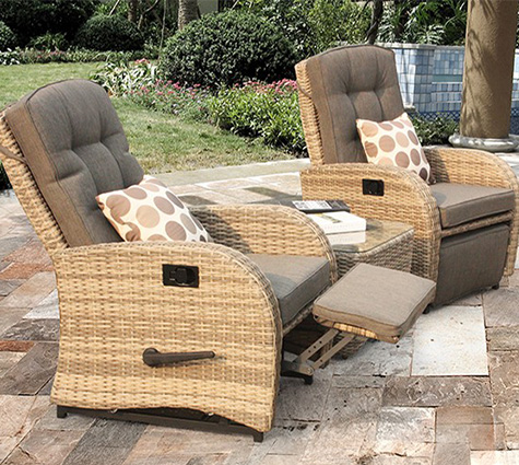 chunky rattan reclining bistro set